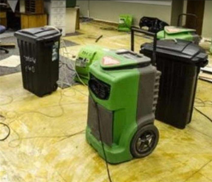 SERVPRO drying equipment at work in water damaged building