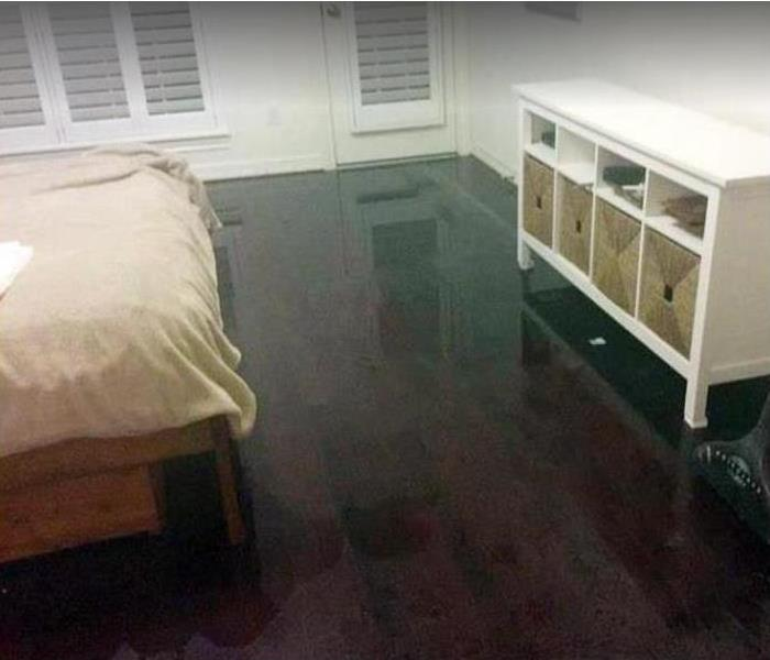 bedroom with standing water on floor